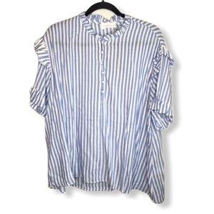 Mustard Seed Blue White Striped Oversized Shirt